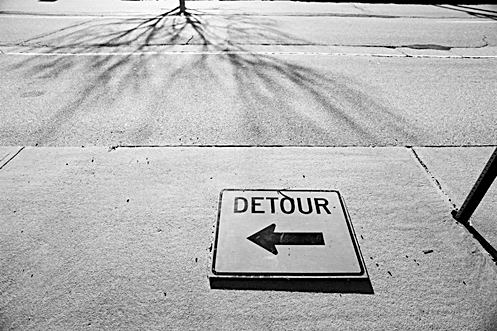 Detour sign in Manchester, NH - photo by Al Belote